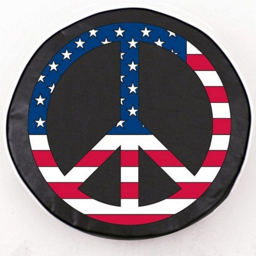 Tire Cover by Holland Bar Stool - USA Peace Sign, Black - 30.75'' x 10''