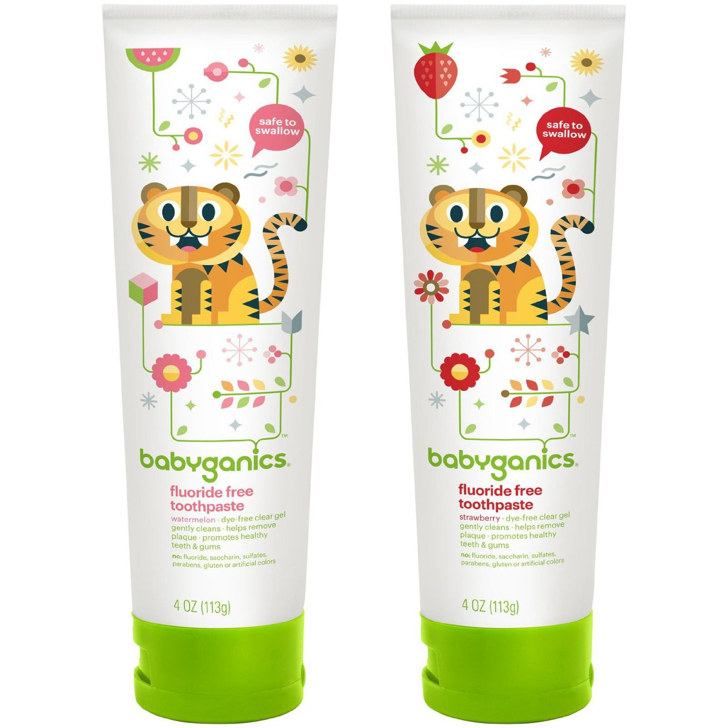 BabyGanics Fluoride Free Toothpaste 4 oz Twin Pack Watermelon