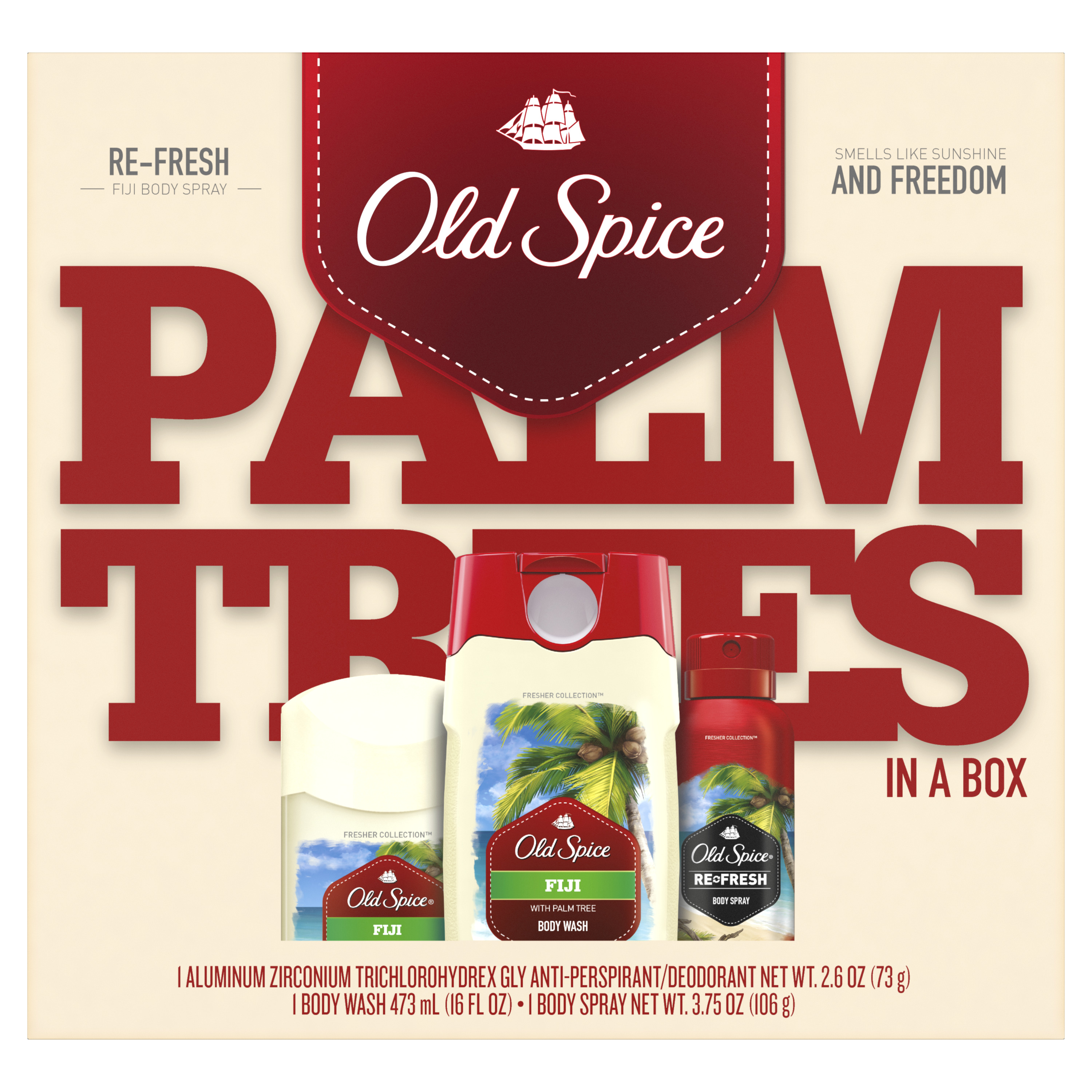 Old Spice Fiji Antiperspirant and Deodorant + Body Wash + Body Spray, Gift Pack