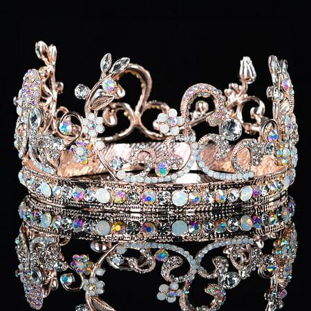 Rose Gold Flower Leaf Crystal Wedding Bridal Crown Rhinestone Headband Opal Party Pageant Tiara