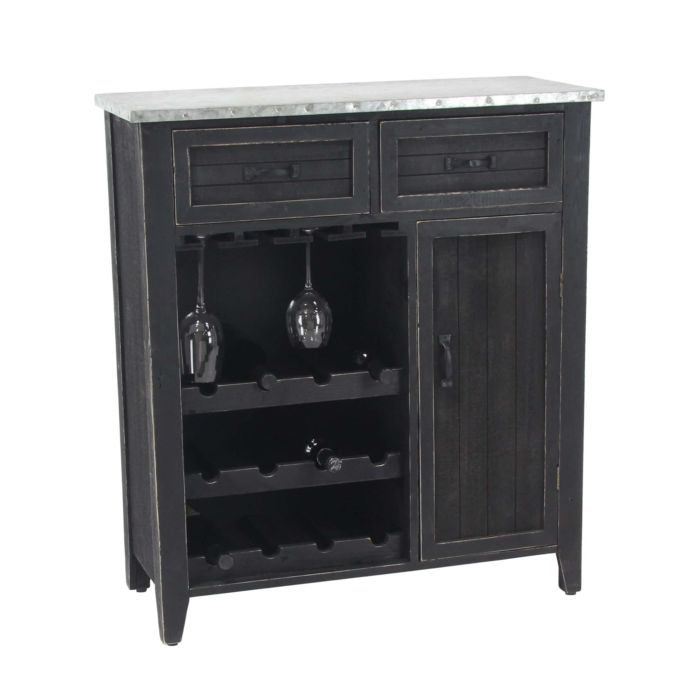 Decmode Traditional 12-Bottle Wood and Iron Wine Cabinet With Suspended Glass Rack, Black by DecMode