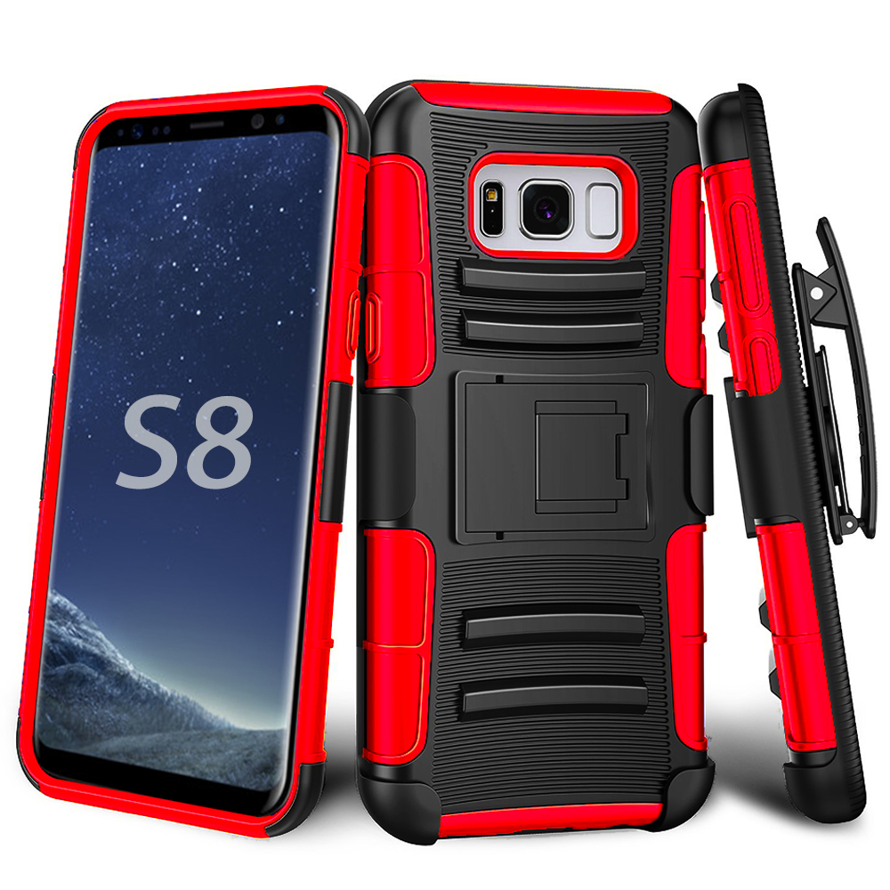Samsung Galaxy S8 Armor Belt Clip Holster Case Cover Black