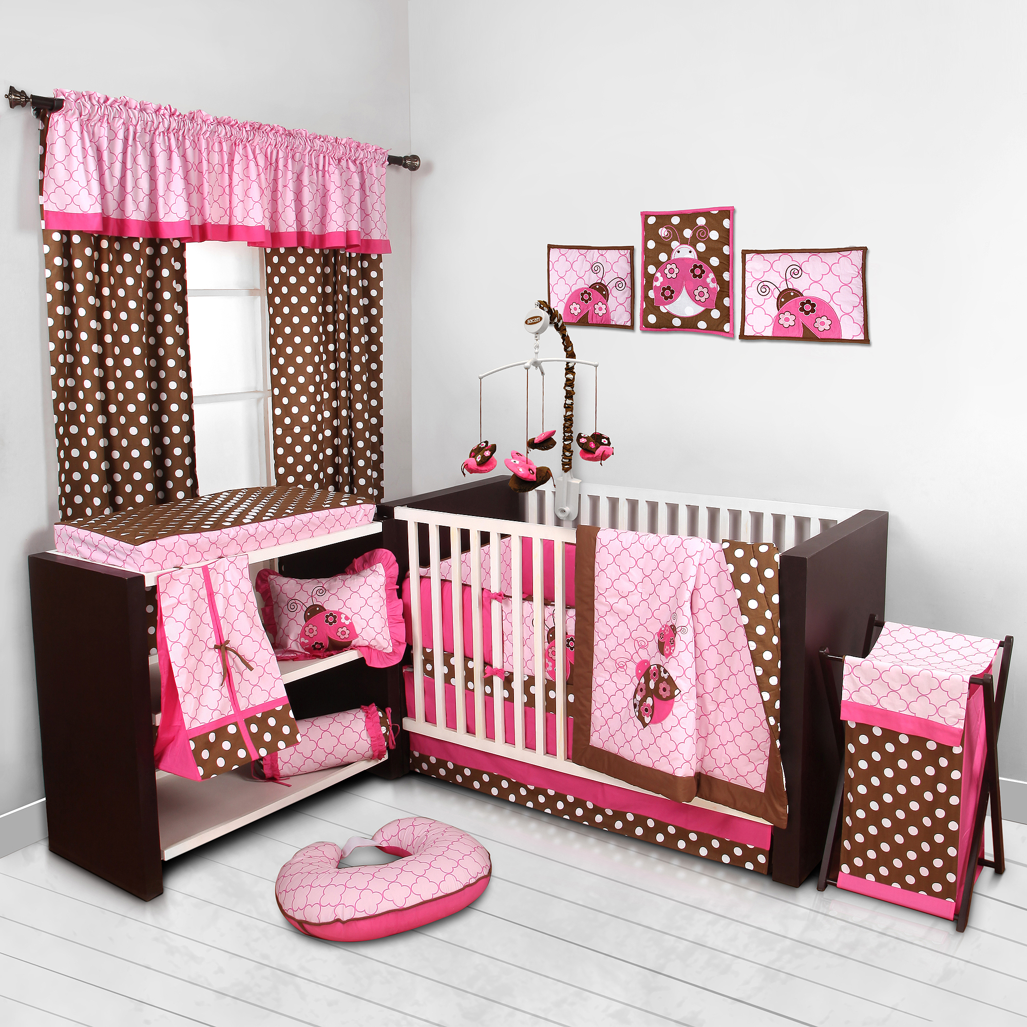 Bacati Lady Bugs Pink/Chocolate Girls 10-Piece Nursery-in-a-Bag Crib Bedding Set with Bumper Pad for US standard Cribs