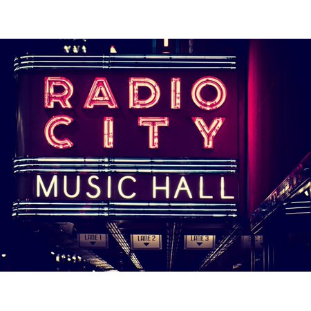 Lanes Entrance to the Radio City Music Hall by Night, Manhattan, Times Square, New York Print Wall Art By Philippe (New York City Stores In Times Square)
