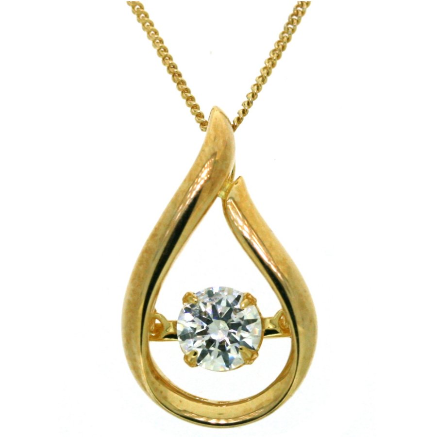 Sterling Silver with 14K yellow plating simulated diamond tear-drop shaped pendant, 18""