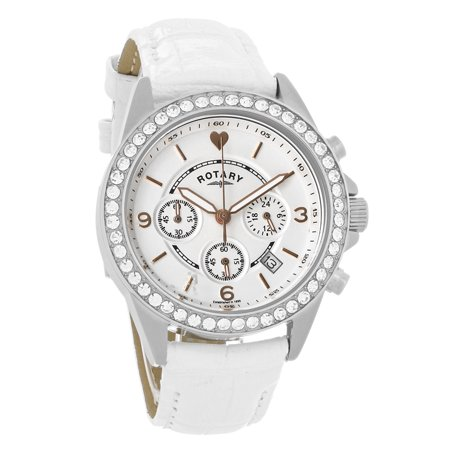 Watch Crystal Box - Rotary Ladies Chronograph Crystal White Dial Quartz Watch LS00147-41 (Unworn) No Box or Papers