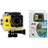 Yellow WIFI Action 4K 30fps Ultra HD Waterproof DV Camcorder 16MP 170 Degree Wide Angle 2 inch LCD Screen