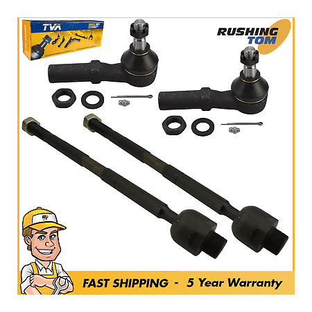 4 Pc New Inner & Outer Front Tie Rod Ends - Dodge Ram 1500 02-05, 08 1 Year Wrty Dodge Ram Tie Rod Ends