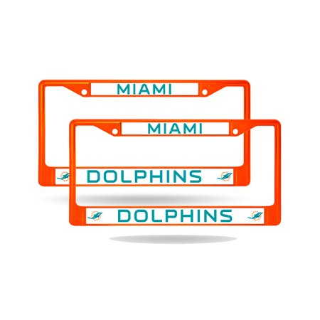 Miami Dolphins Orange Painted Chrome Metal (2) License Plate Frame ...