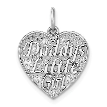 14kt White Gold Daddys Little Girl In Heart Pendant Charm Necklace Fine Jewelry Ideal Gifts For Women Gift Set From Heart - Girls Heart Necklace