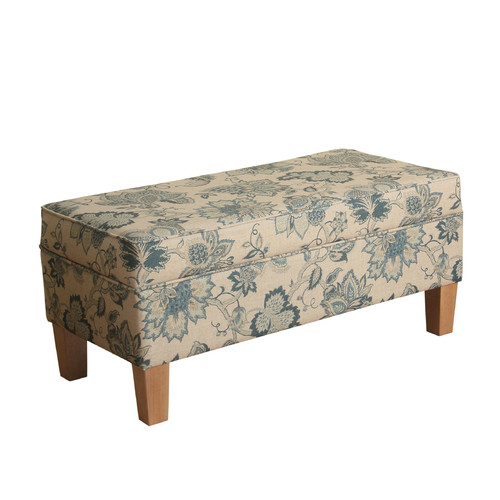 HomePop Lexie Large Storage Bench, Blue Jacobean Print