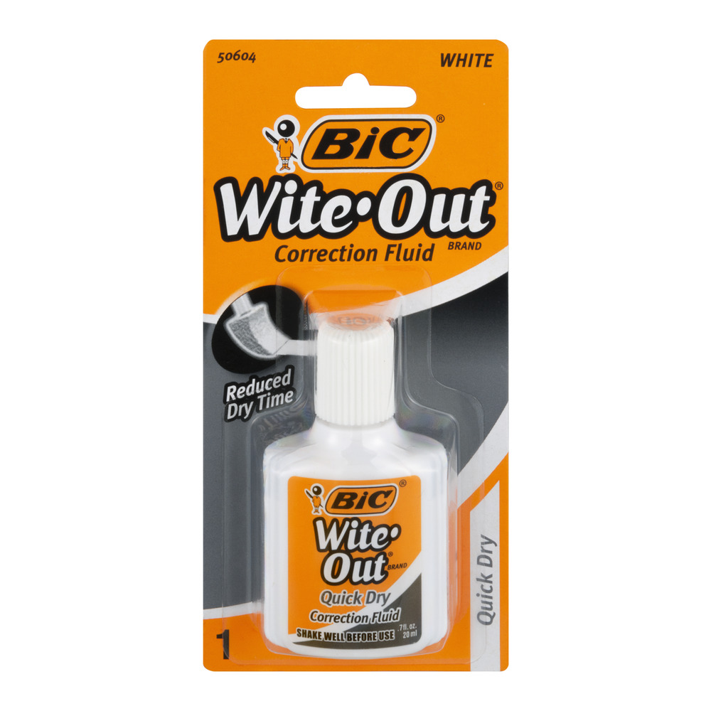 (4 Pack) Bic Wite-Out Quick Dry Correction Fluid-0.7 Oz 1 Pk