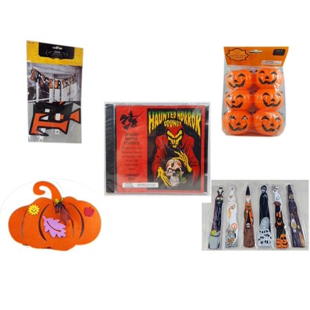 Halloween Fun Gift Bundle [5 Piece] - Trick or Treat Banner 42.5 x 5 Inches - Party Favors Pumpkin Candy Containers 6 Count - Haunted Horror Sounds CD -  Felt Pumpkin Decoration -  Wooden Craft Stic - Crafts For 5th Grade Halloween Party