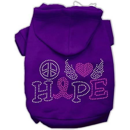 Mirage 54-97 XXLPR Love Hope Breast Cancer Rhinestone Pet Hoodie Purple 2XL for $<!---->