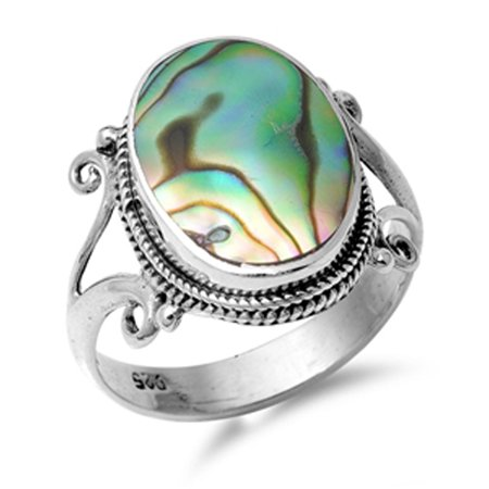 Abalone Pearl Ring - Sterling Silver Women's Simulated Abalone Vintage Bali Rope Design Ring (Sizes 6-9) (Ring Size 6)