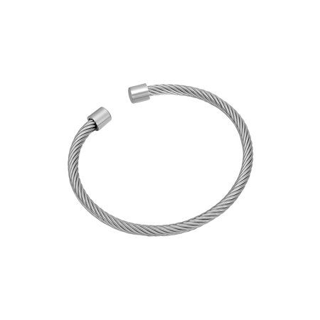 Stainless Steel Twisted Cable Silver Tone Fashion Jewelry Bangle Cuff Bracelet
