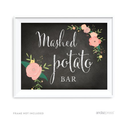 Mashed Potato Bar Chalkboard & Floral Roses Wedding Party Signs