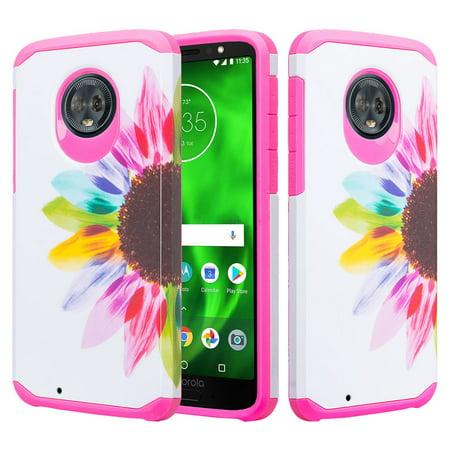 Motorola Moto G6 Case, Moto G6(2018) Case Slim Hybrid Soft Silicone Dual Layer [Shock Resistant] Cute Case Cover for Girls Women Phone Case for Moto G (6thGeneration) - Vivid Sunflower - image 1 de 6