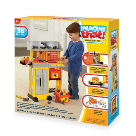 IMAGINE that! Little Builder Work Bench Pretend Play Toy Playset - 38 Piece