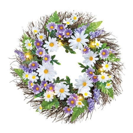 Pre-Lit Purple and White Spring Daisy Grapevine Twig Wreath