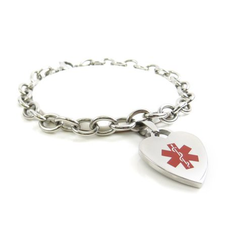 Myiddr Womens Warfarin Bracelet Medical Charm Steel Pre Engraved