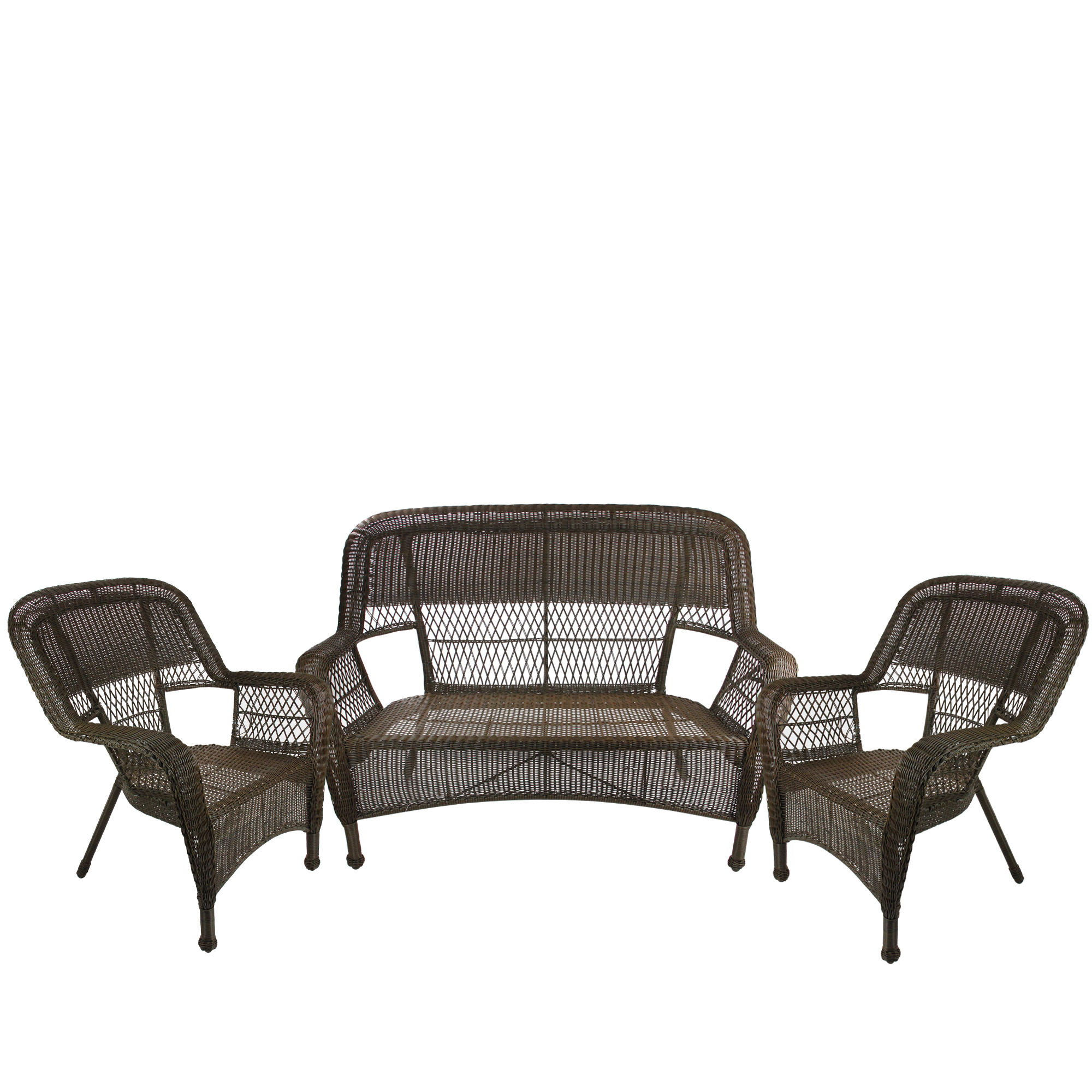 3-Piece Brown Steel Resin Outdoor Patio Furniture Set - Loveseat and 2 Chairs