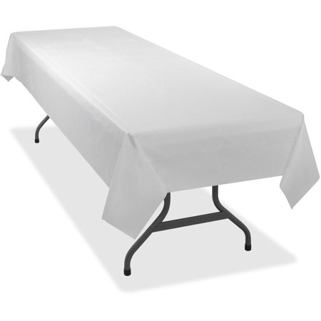 Tablemate Table Set Rectangular Table Cover, Heavyweight Plastic, 54 x 108, White, 6/Pack