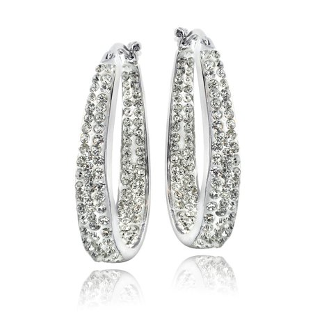 Silver Tone Crystal Inside-Out Oval Hoop (9 Silver Tone Crystal)