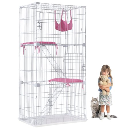 Cat Cage Cat Crate Kennel Cat Playpen with Free hammock Perching Shelves 3 Cat Bed 3 Front Doors 2 Ramp Ladders,67 (Best Price Composite Front Doors)