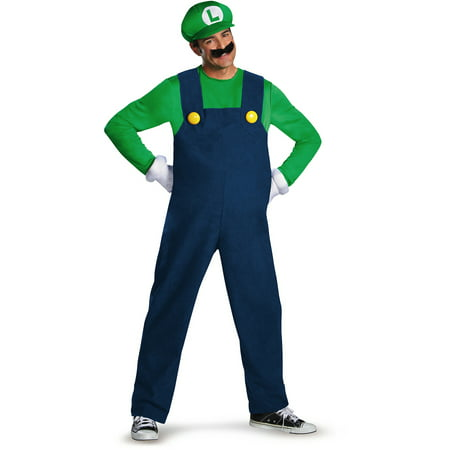 Luigi Deluxe Men's Adult Halloween Costume](Toddler Luigi Halloween Costume)