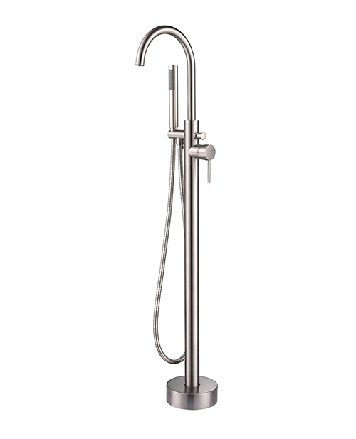 Lexora Lago Single Freestanding Bathtub Faucet With Hand Shower, Brushed  Nickel