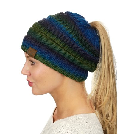 C.C BeanieTail Soft Stretch Cable Knit Messy High Bun Ponytail Beanie Hat 1adf725e599