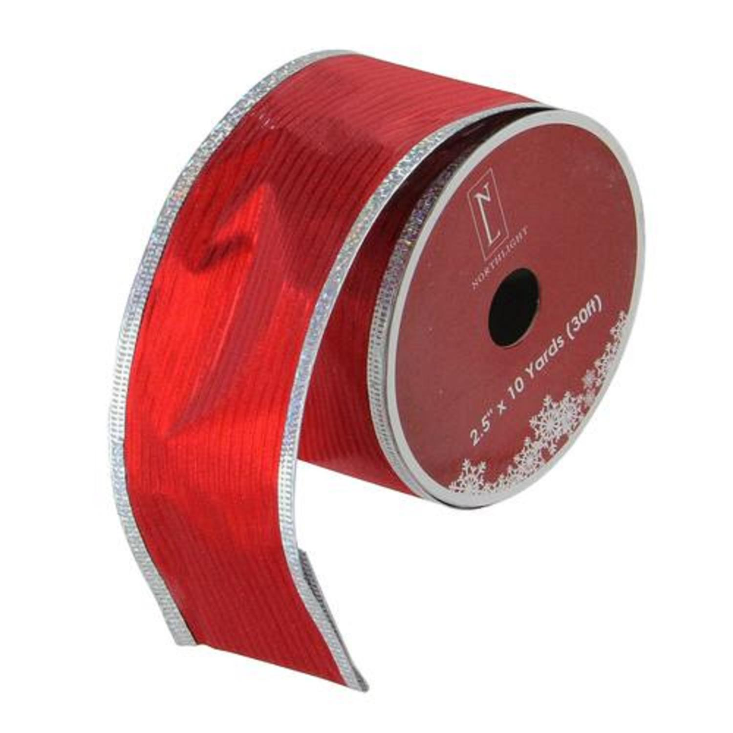 """Shimmery Red and Silver Horizontal Wired Christmas Craft Ribbon 2.5"""" x 10 Yards"""