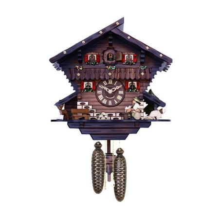 River City Clocks 806-12 Carved Deer, Dog, and Beer Drinker Drinking Beer Chalet Cuckoo Clock - 12H (Carved Chalet Clock)