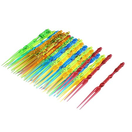 - Home Birthday Party Plastic Food Cake Fruit Forks Picker Multicolour 60pcs