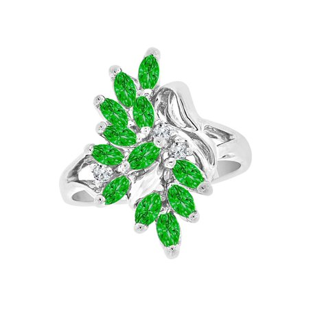 Sterling Silver White Rhodium, Leaf Design Cluster Ring May Created CZ Crystals Birthstones