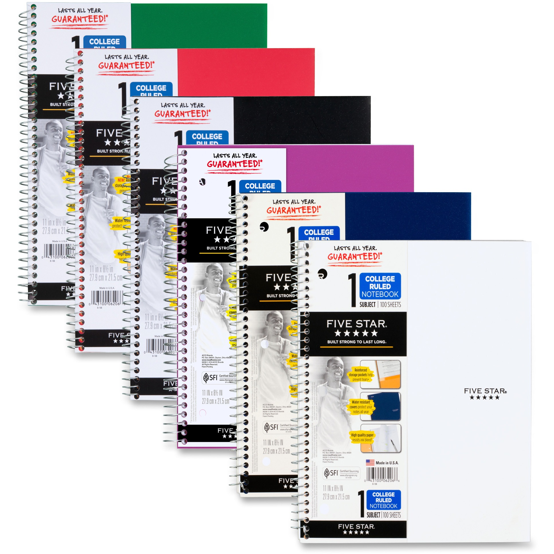 "Five Star Wirebound Notebook, 1 Subject,College Ruled, 11"" x 8 1/2"",Assorted Colors"