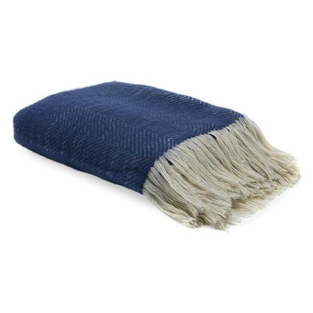 MoDRN Wool Raised Decorative Throw Blanket, Navy, 50