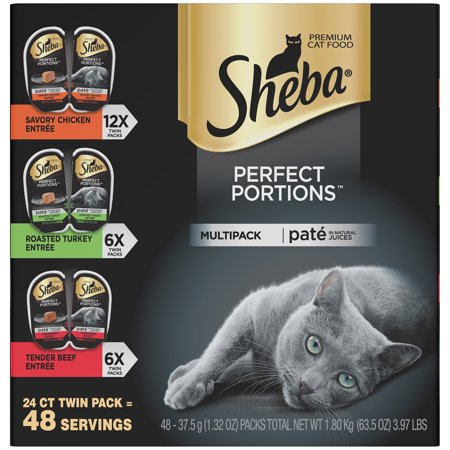 (24 Pack) Sheba Perfect Portions Wet Cat Food Pate in Natural Juices Savory Chicken, Roasted Turkey, & Tender Beef Entree Variety Pack, 2.6 oz. Twin-Pack Trays