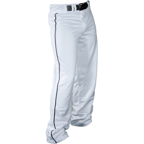 Louisville Slugger Boys' Slugger American Heavy-Warp Knit Boot-Cut Pants, White/Black Piping