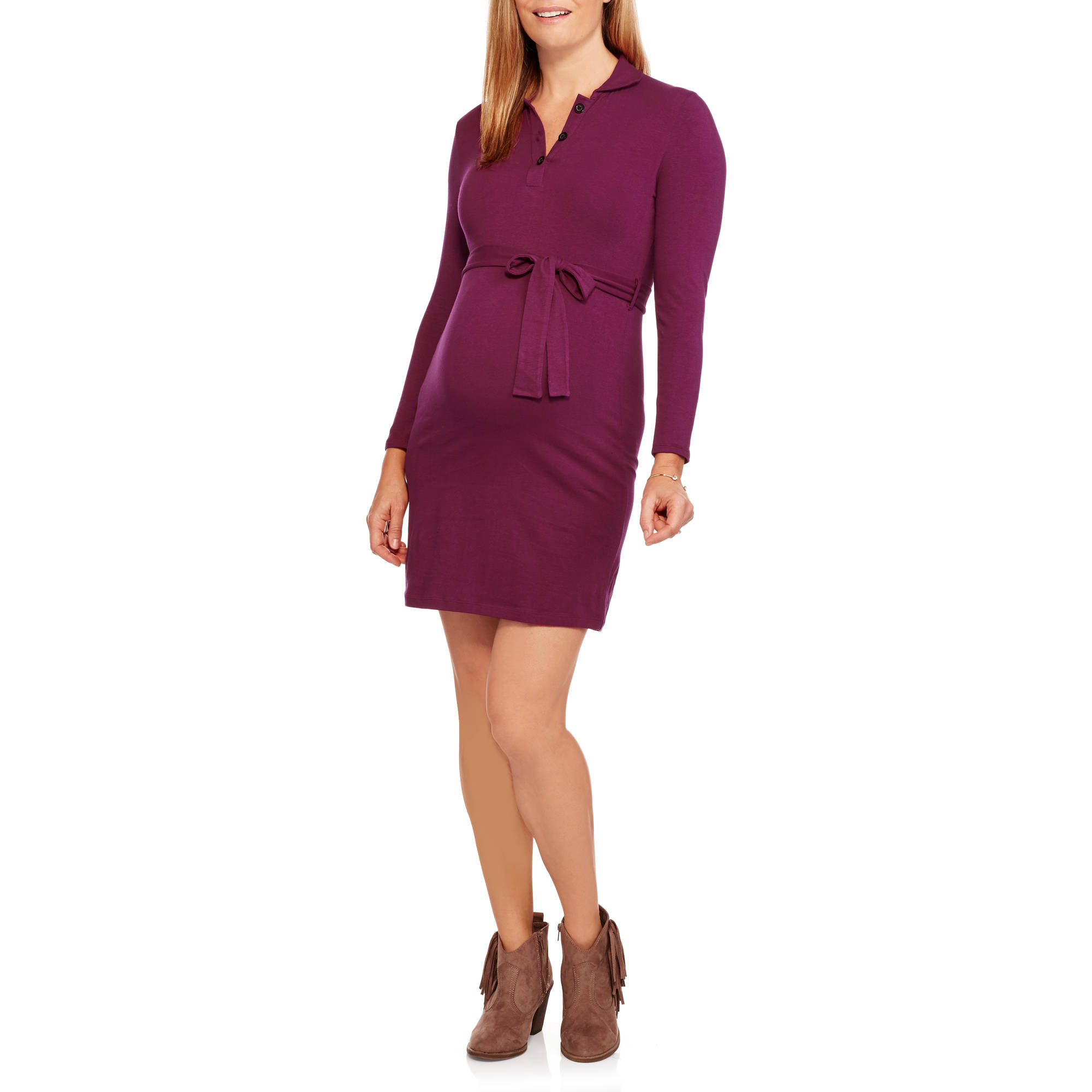 Maternity Long Sleeve  3 button placket collared dress with tie belt