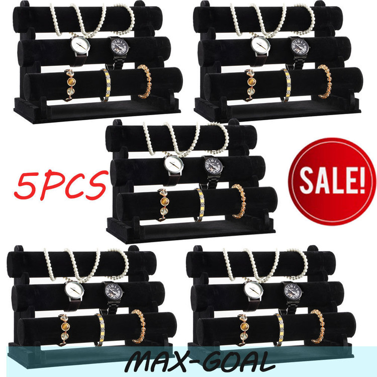 5Pcs Black 3-Tier Velvet Bracelet Chain Watch T bar Rack Jewelry Hard Display Stand Holder Jewelry Organizer Hard... by