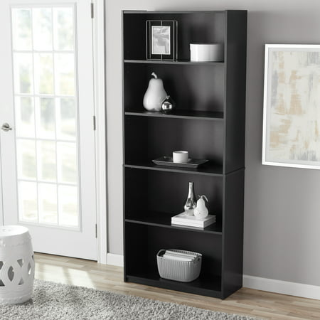 "Mainstays 71"" 5-Shelf Standard Bookcase, Black Oak"