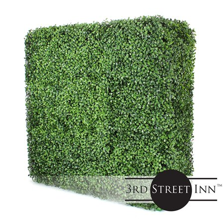3rd Street Inn Square Boxwood Hedge Wall - Outdoor Artificial Privacy Plant - Great Boxwood and Ivy Substitute - DIY Hedge Divider - Boxwood Wall