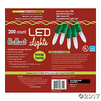 200L Pure White Holiday LED Lights - C3 Style
