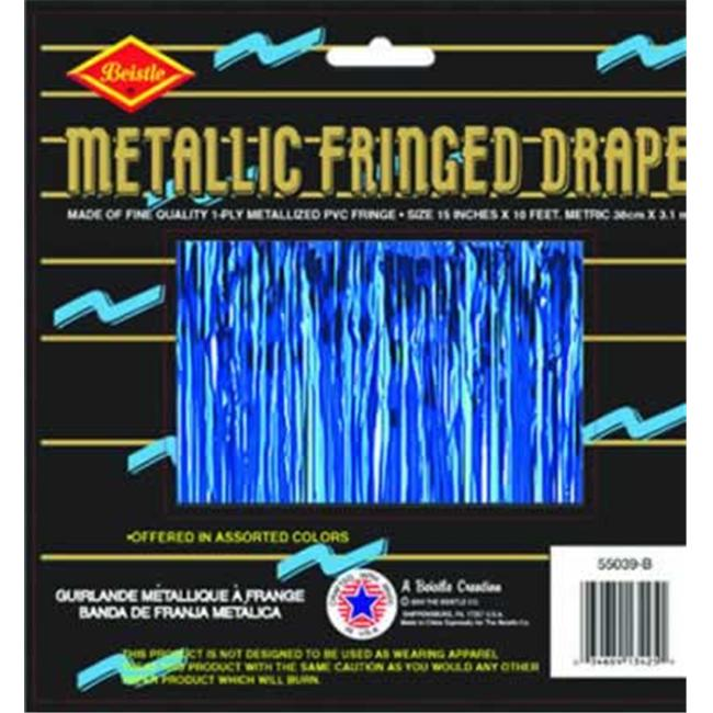 Beistle - 55039-B - Pkgd 1-Ply FR Metallic Fringe Drape - Pack of 6