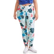 Juniors' Plus Floral Printed Leggings With Wide Waist Band