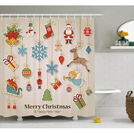 Christmas Shower Curtain Xmas Winter Holiday Themed Icons Celebratory Objects Retro Graphic Collection Fabric