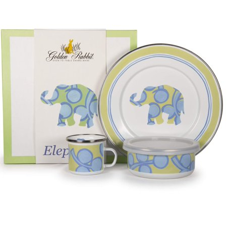 Golden Rabbit - Enamelware Elephant Pattern Child Dinner -