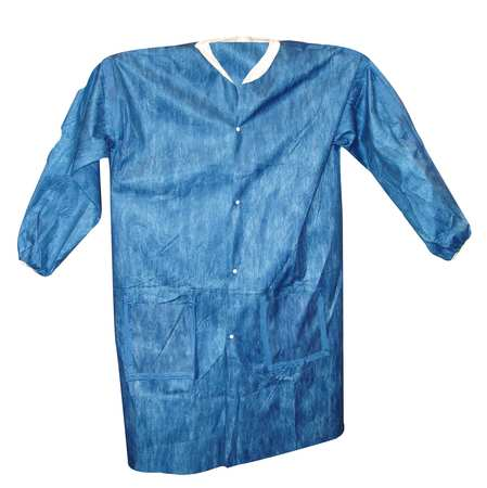 VIROGUARD 2425-M Lab Coat, M, Blue, 35 In. L, PK 50